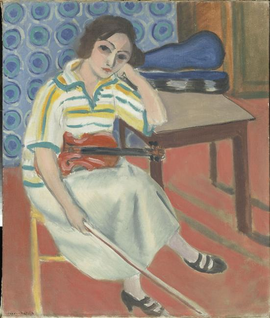Woman with Violin by Henri Matisse, oil painting. What music puts you in the creative mood?
