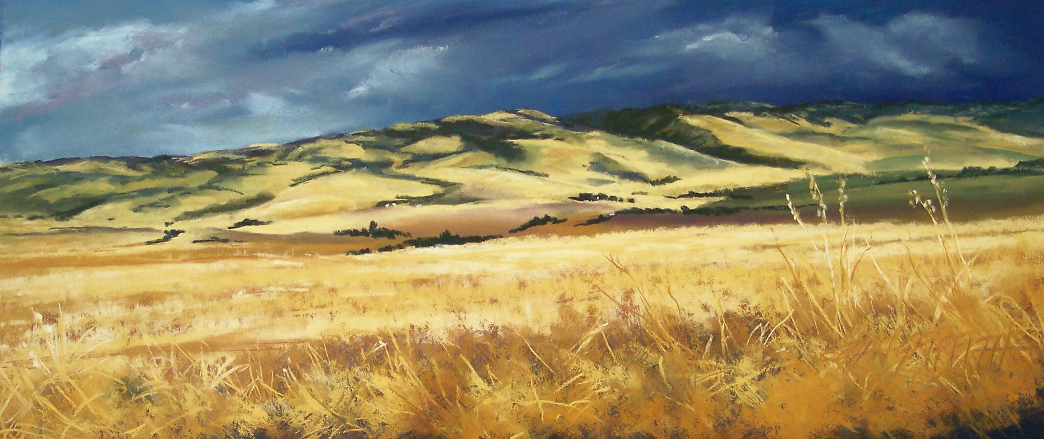 Bonnie Zahn Griffith with Storm From the West, fall pastel painting