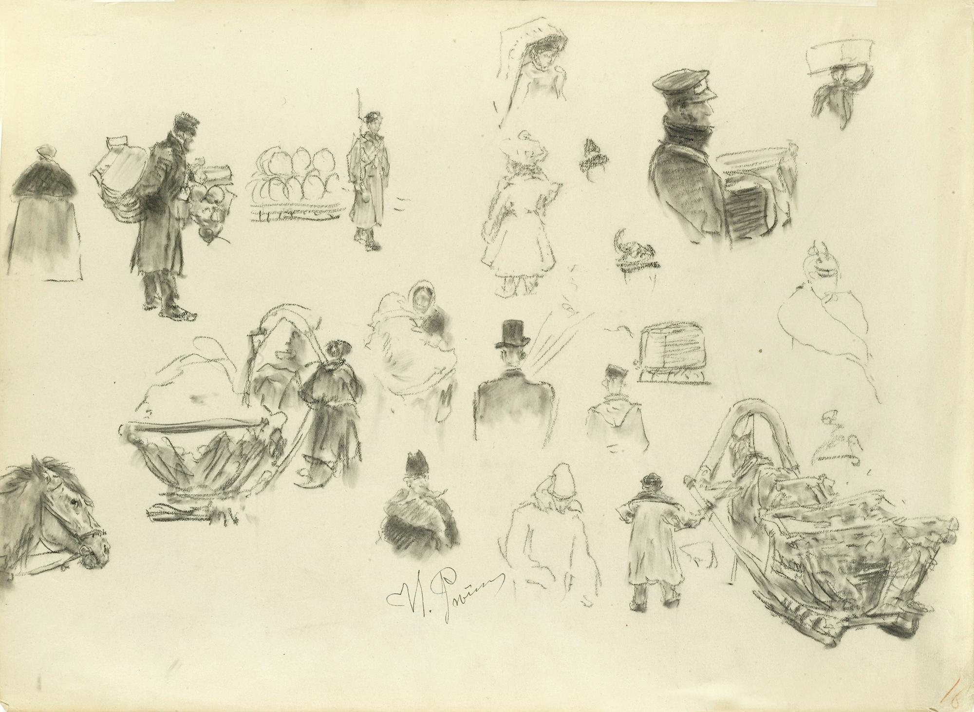 Figure drawings and sketches by Ilya Repin.
