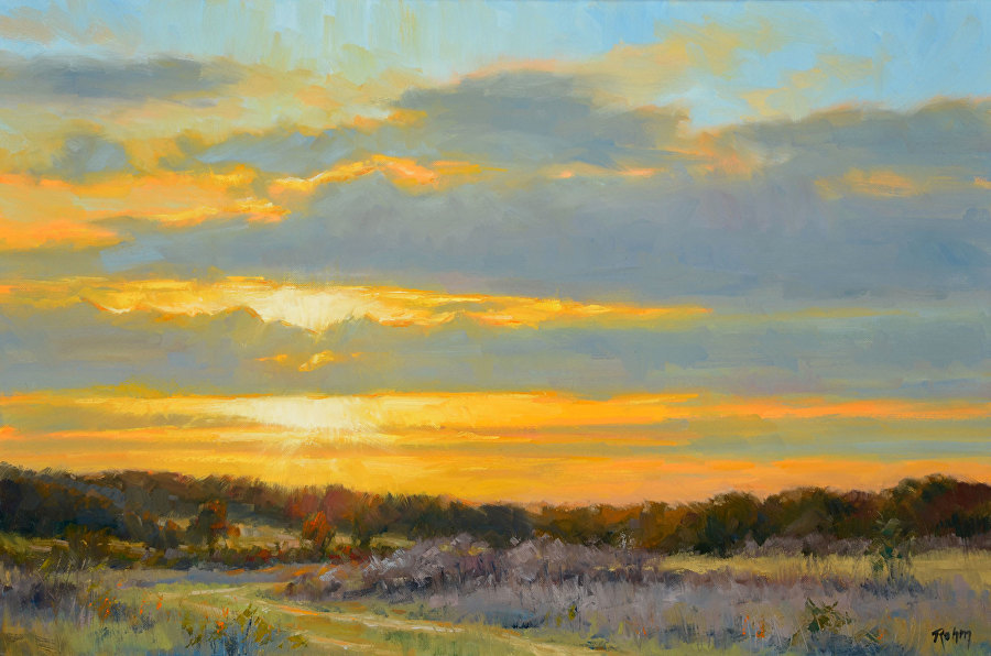 Afternoon Clouds by Bob Rohm--autumn art colors example.