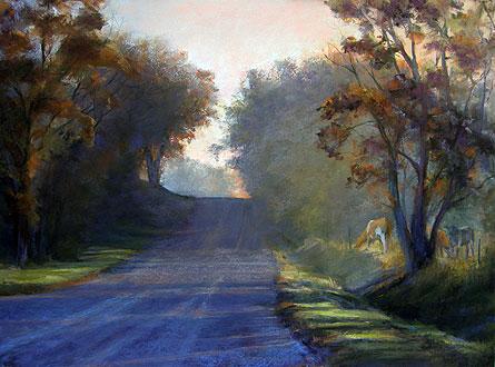 Through the Trees by Elaine Lierly Jones, pastel landscape