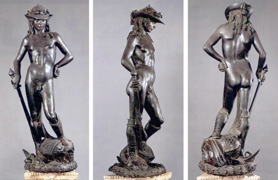 Art history glossary: The contrapposto of Donatellos bronze David clearly displayed in these three views of the sculpture.