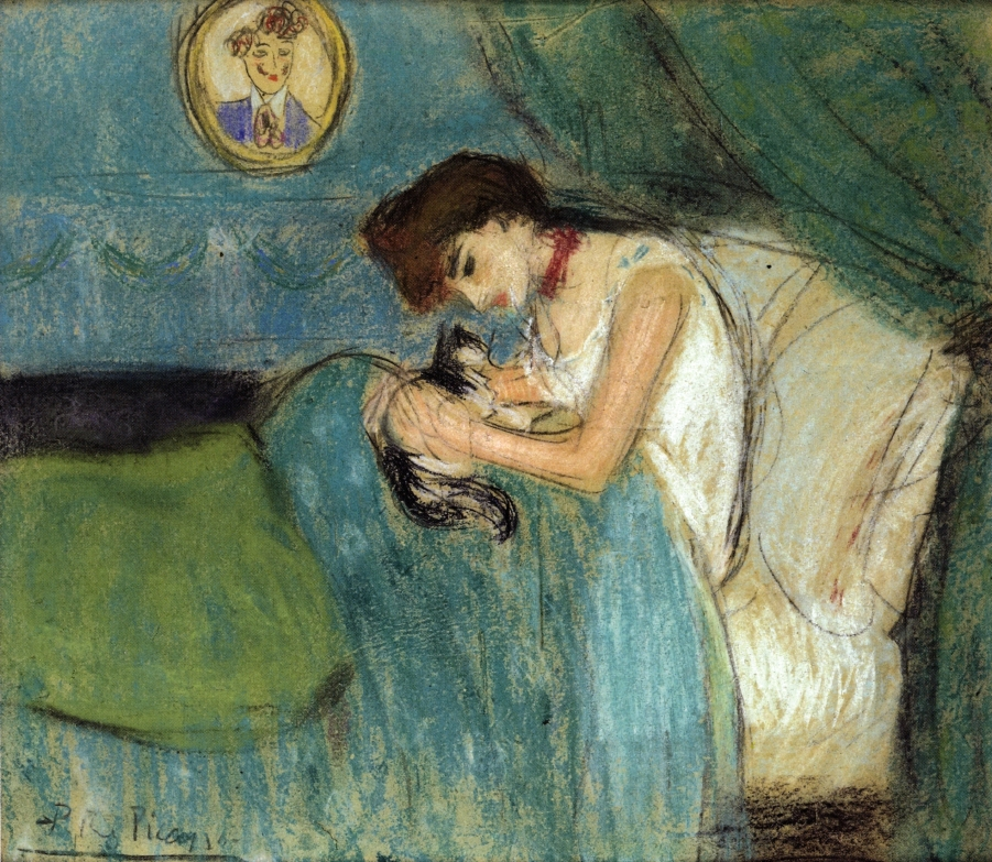 Woman with Cat by Pablo Picasso, 1900, pastel painting.