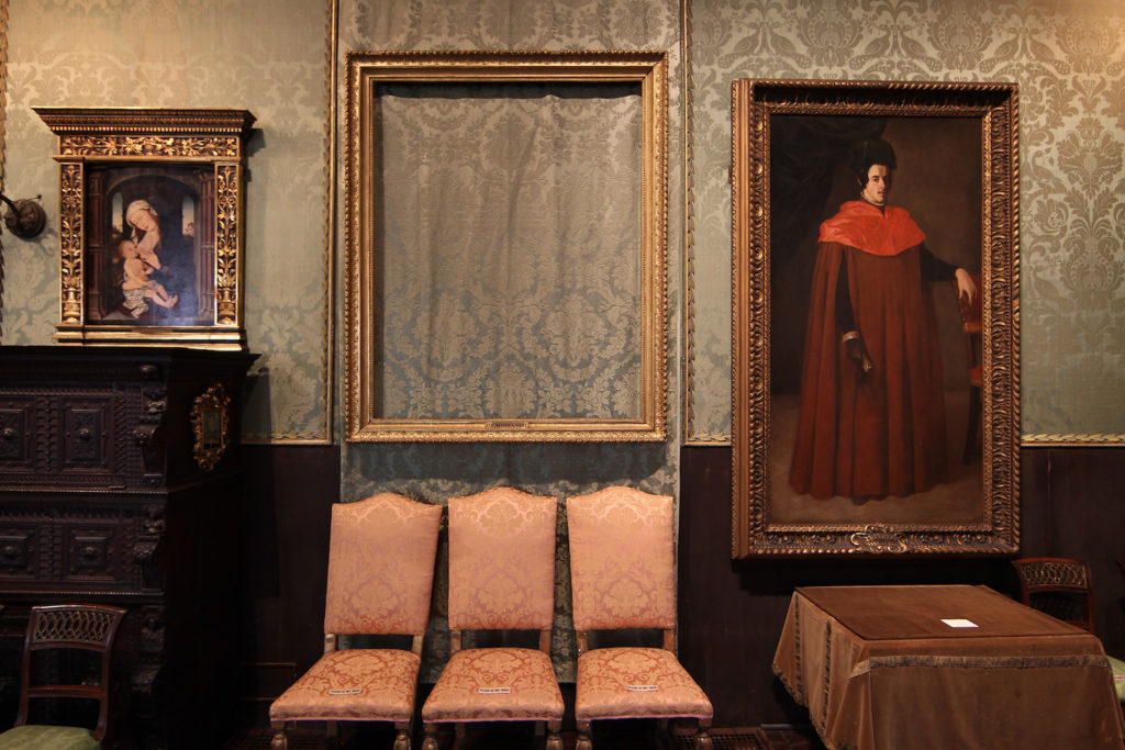 Isabelle Stewart Gardner Museum art theft -- 13 oil paintings were stolen in 1990, marking the biggest art theft in U.S. history
