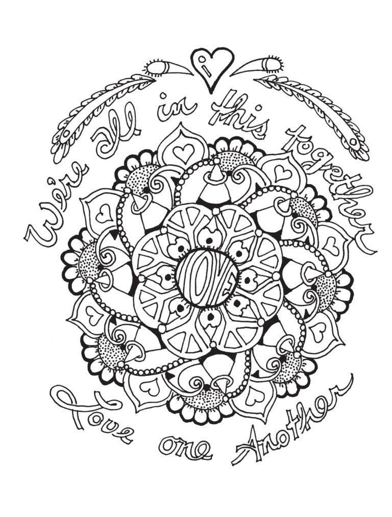 adult coloring book | coloring page | peace love and understanding | creative mindfulness