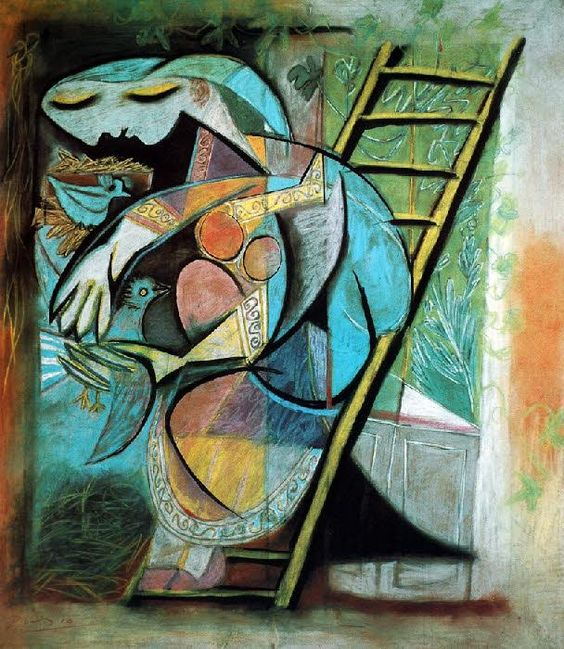 Woman with Pigeons by Pablo Picasso, pastel on paper on canvas.