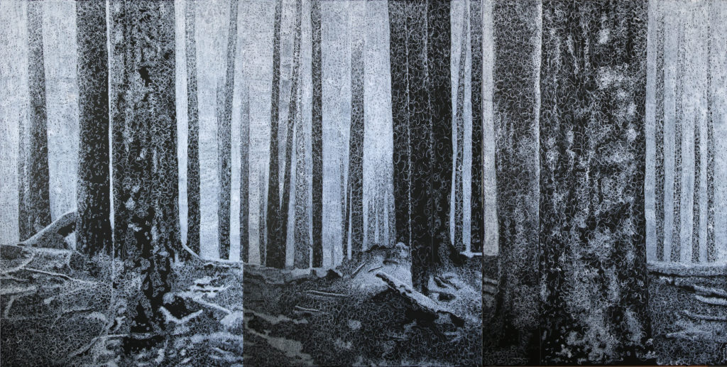 """Ravelled"" is a 72 x 36 inche triptych made of only white doodling scribbles on a black background."