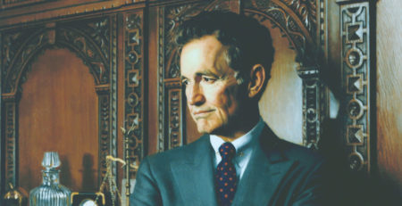 John Mack Carter, Editor in Chief, Hearst Corporation by Daniel Greene (detail), oil on linen
