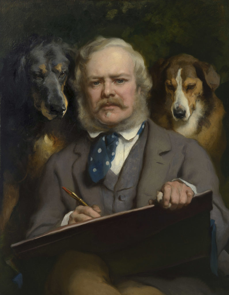 Portrait of the Artist with Two Dogs by Edwin Landseer, 1865
