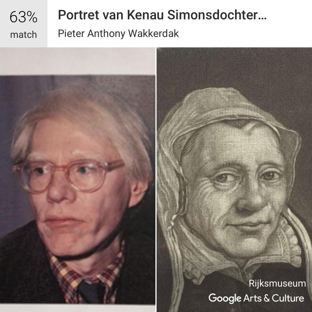 Andy Warhol on the Google selfie app