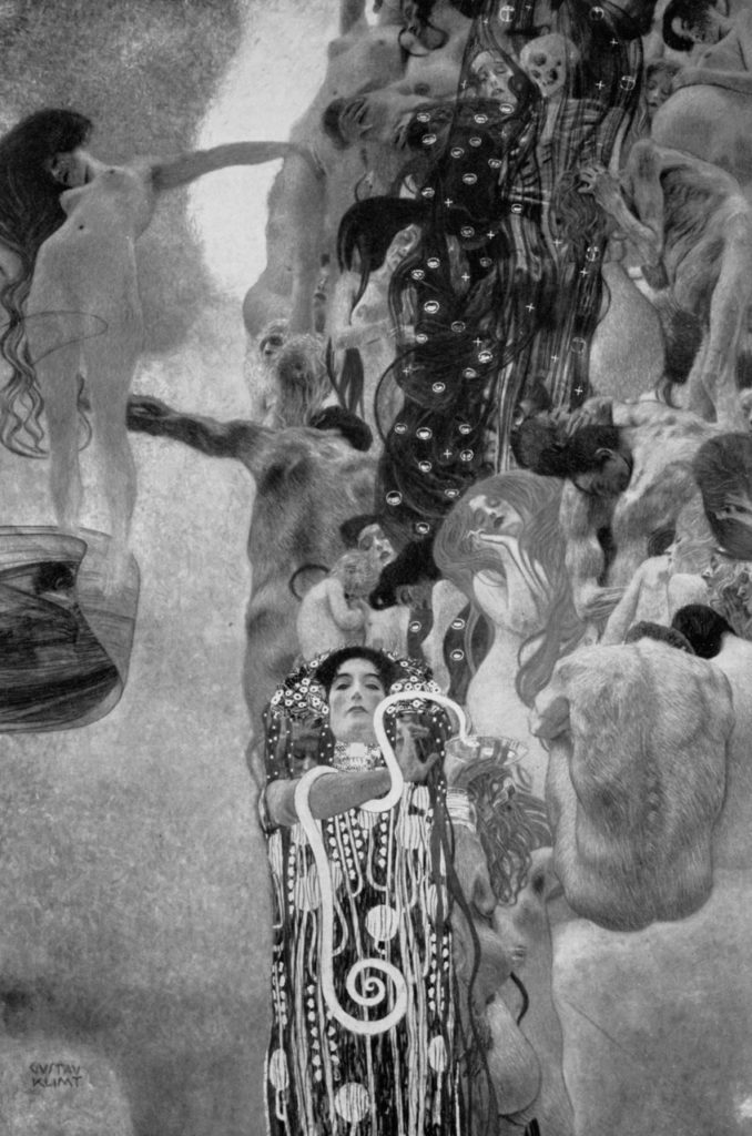 Medicine by Gustav Klimt. This photograph is one of the few documents that remain of the University of Vienna mural project that Klimt never finished. The works were eventually destroyed by retreating Nazis in May 1945, when they burned the castle the paintings were housed in.