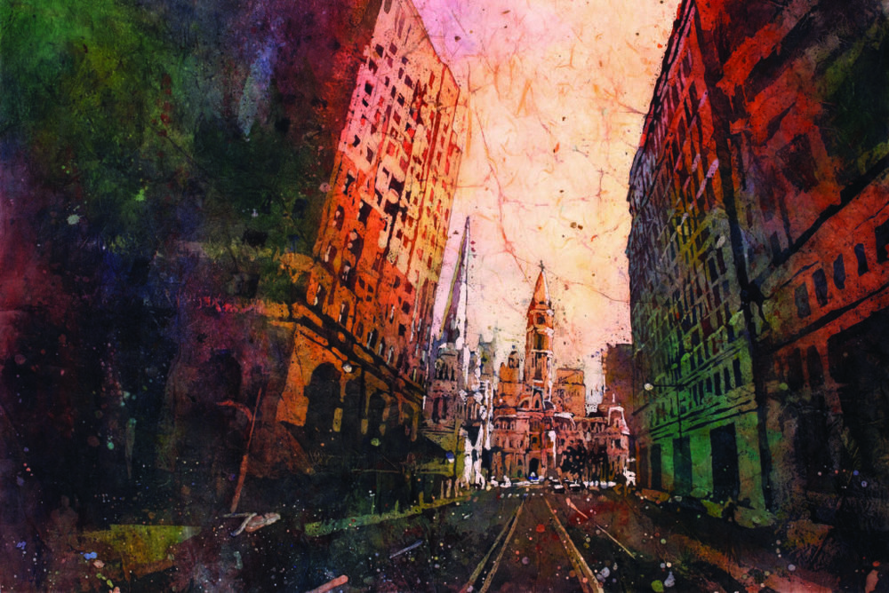 Philadelphia City Hall at Dusk by Ryan Fox, watercolor painting