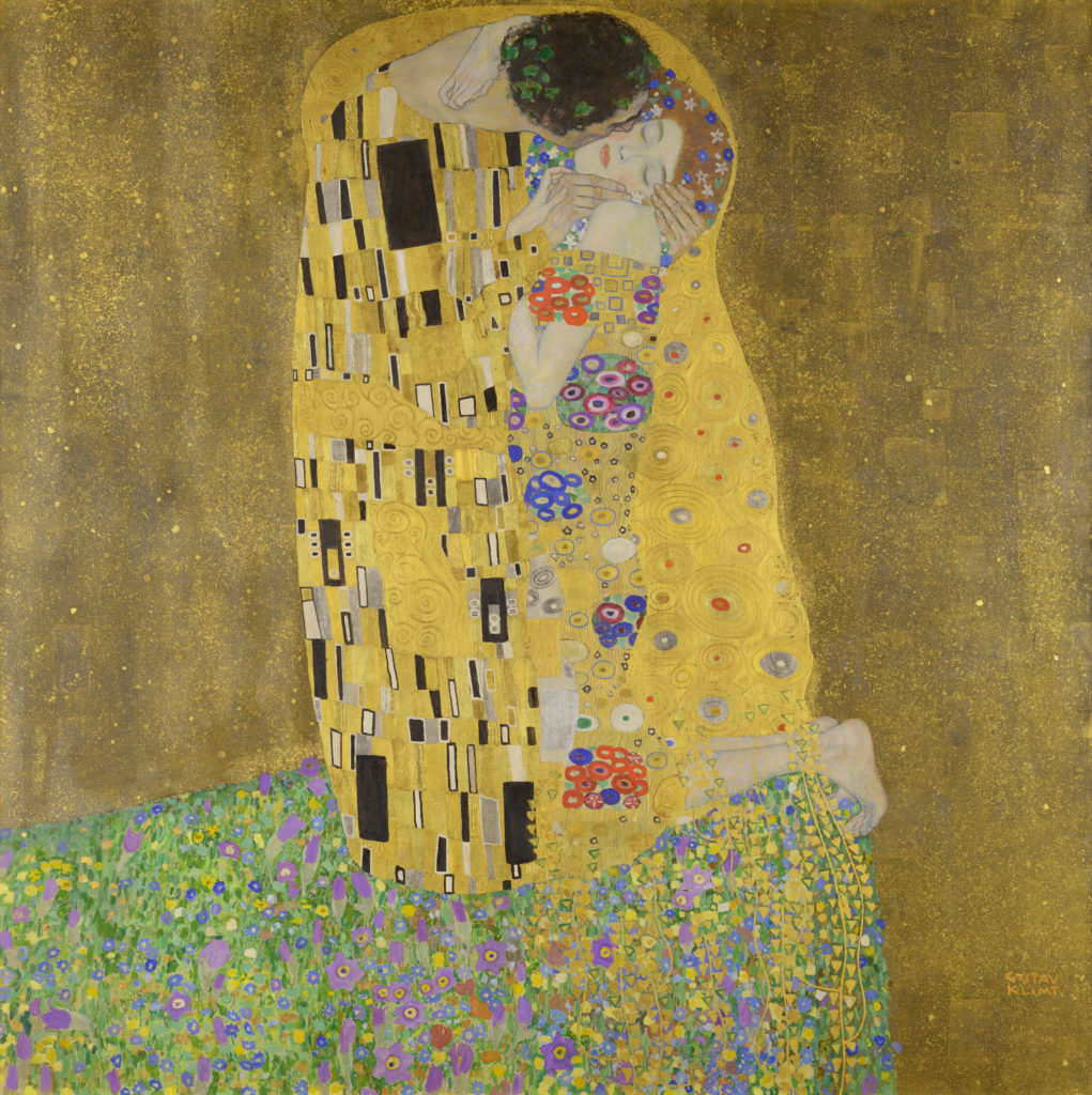 The Kiss by Gustav Klimt, 1907, oil on canvas