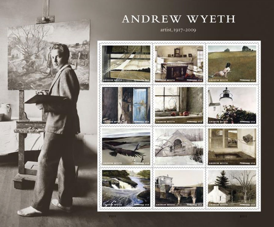 Forever Stamps commemorating the life and art of Andrew Wyeth