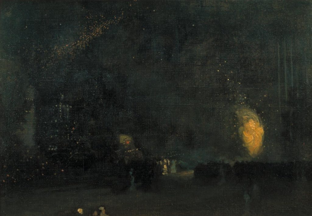 Nocturne: Black and Gold - The Fire Wheel by James Abbott McNeill Whistler, 1875