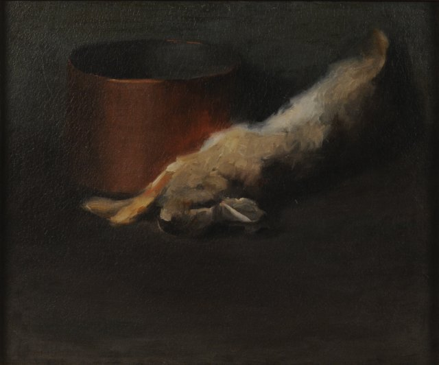 Dead rabbit and copper pot by Georgia O'Keeffe, oil painting
