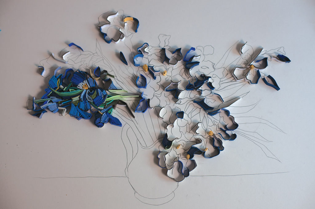 Cut-Paper Technique | Flowers | Yulia Brodskaya | Contemporary Spin on van Gogh Irises