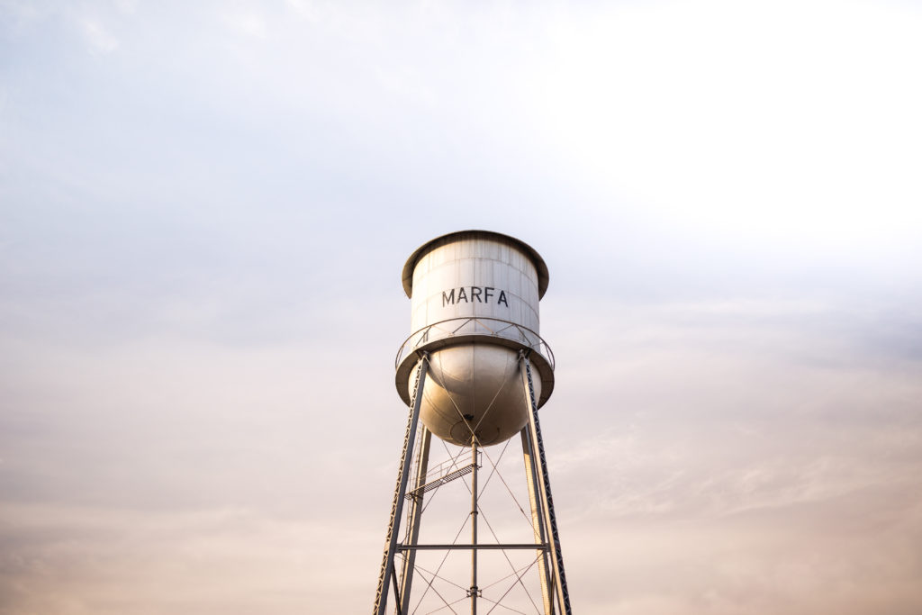 Marfa, Texas Water Tower at sunset
