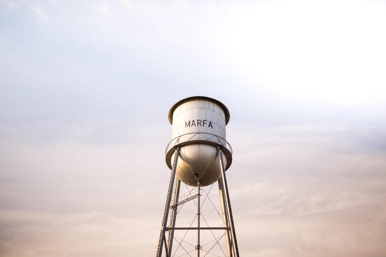 Marfa, Texas Water Tower at sunset