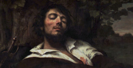 The Wounded Man by Gustave Courbet, oil painting, detail.
