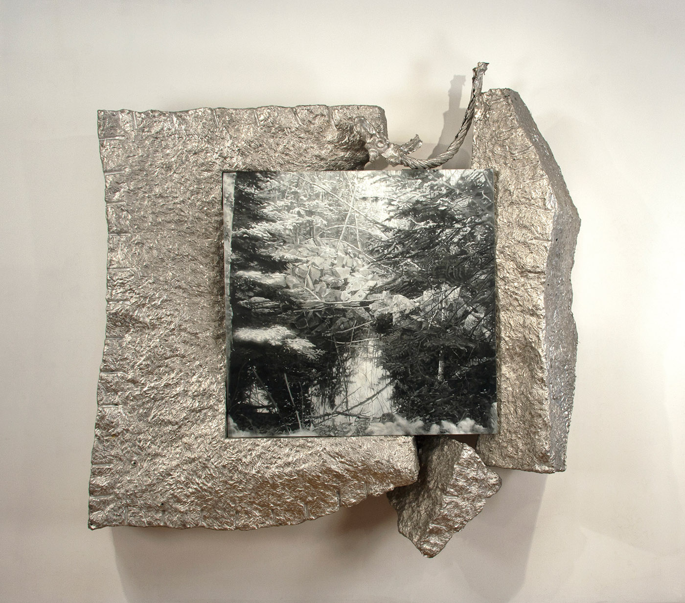 Woodbury Quarry by Kathleen Gilje and Robert Lobe hammered aluminum and oil on linen, 98x96x24½ (entire piece), 50½x50 (painting)