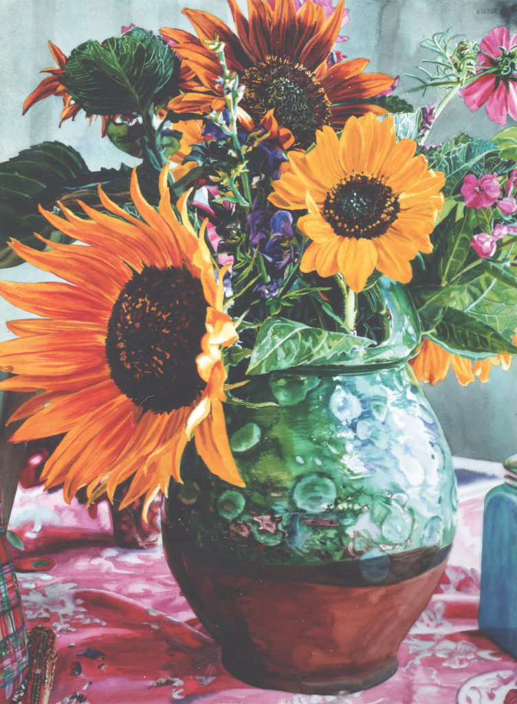 Green Dot Jug With Sunflowers Maine By Carolyn Brady