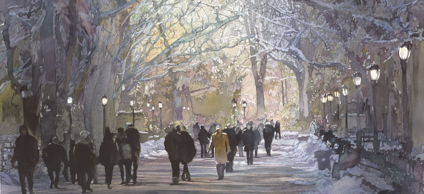The Mall by John Salminen, detail, watercolor on paper