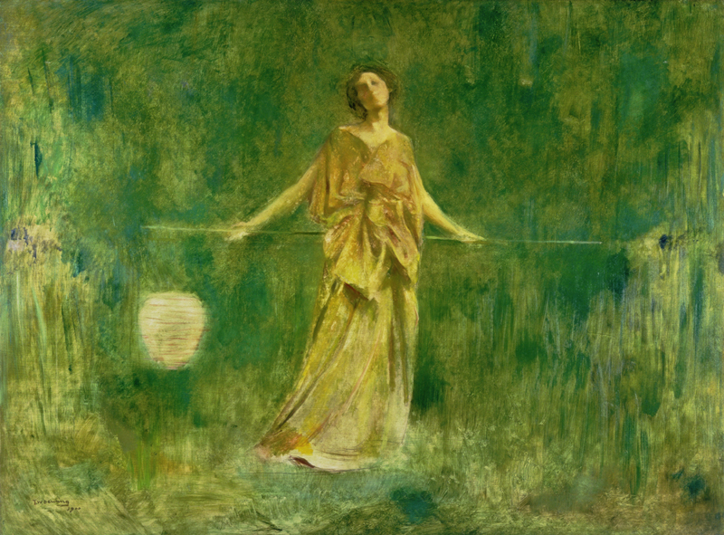 Symphony in Green and Gold by Thomas Wilmer Dewing, 1912