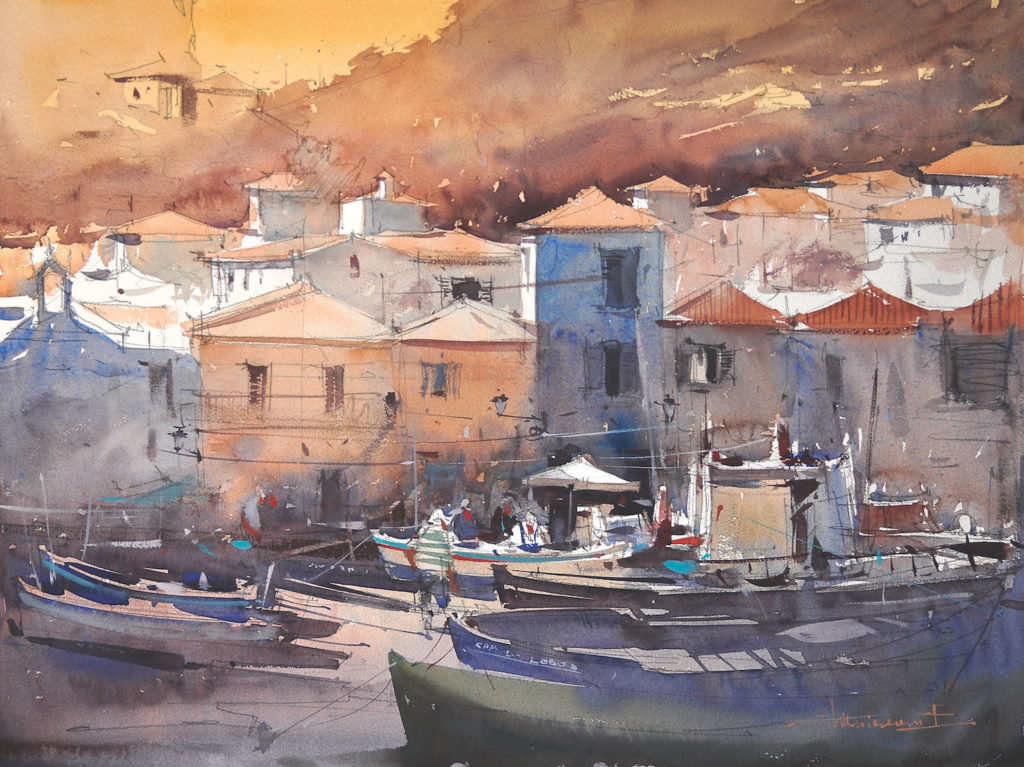 7. Camara de Lobos, Madeira, Portugal by Eugen Chisnicean | 25 watermedia paintings by 25 top artists