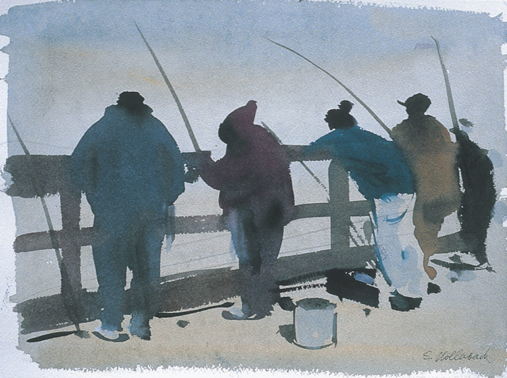21. Fishermen, Myrtle Beach, S.C. by Serge Hollenbach | 25 watermedia paintings by 25 top artists