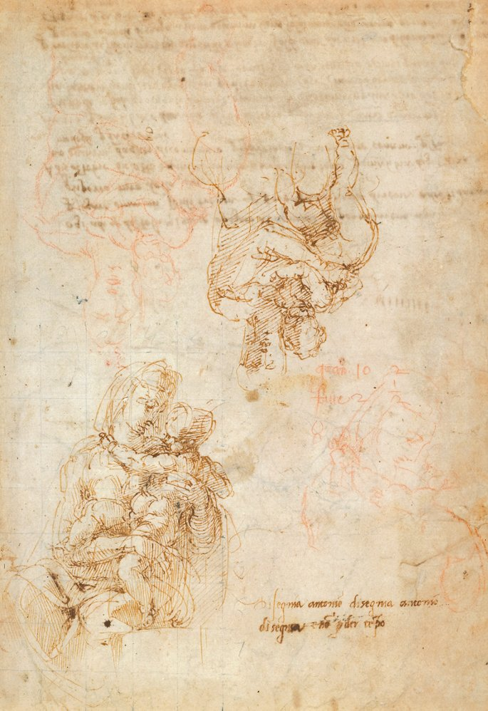 Studies of the Virgin and Child by Michelangelo in brown ink with red chalk marks by Antonio Mini, 1522-24, © The Trustees of the British Museum