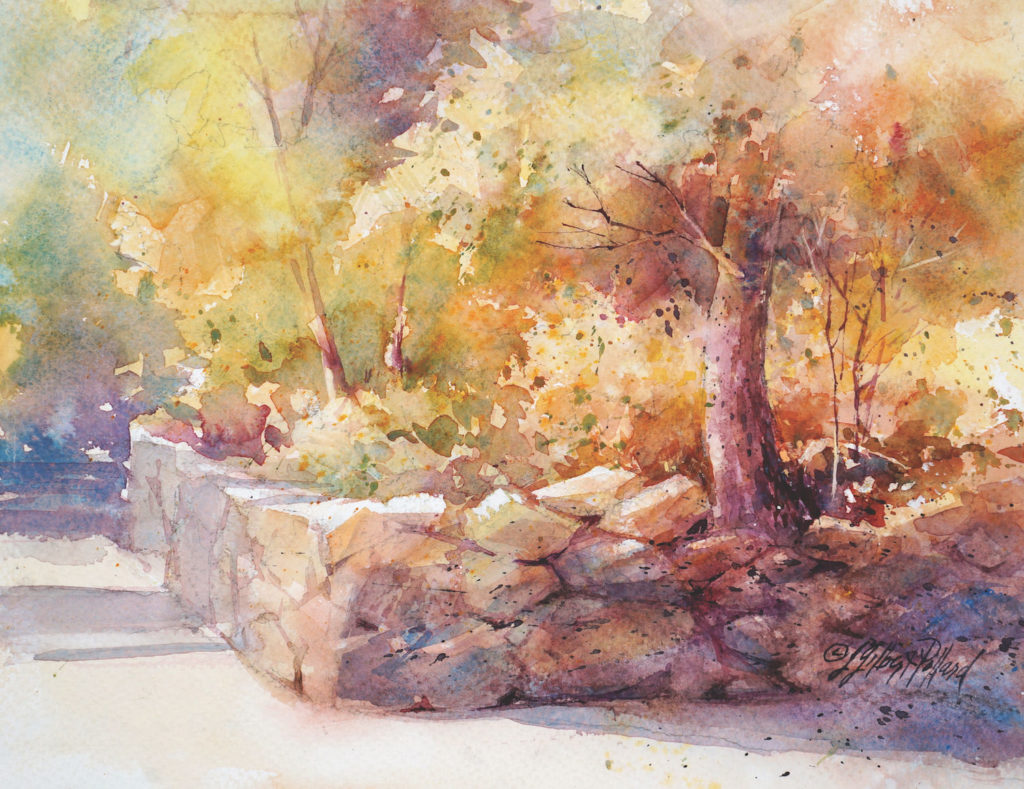 Autumn Lane by Julie Gilbert Pollard | How to Paint Rocks in Watercolor