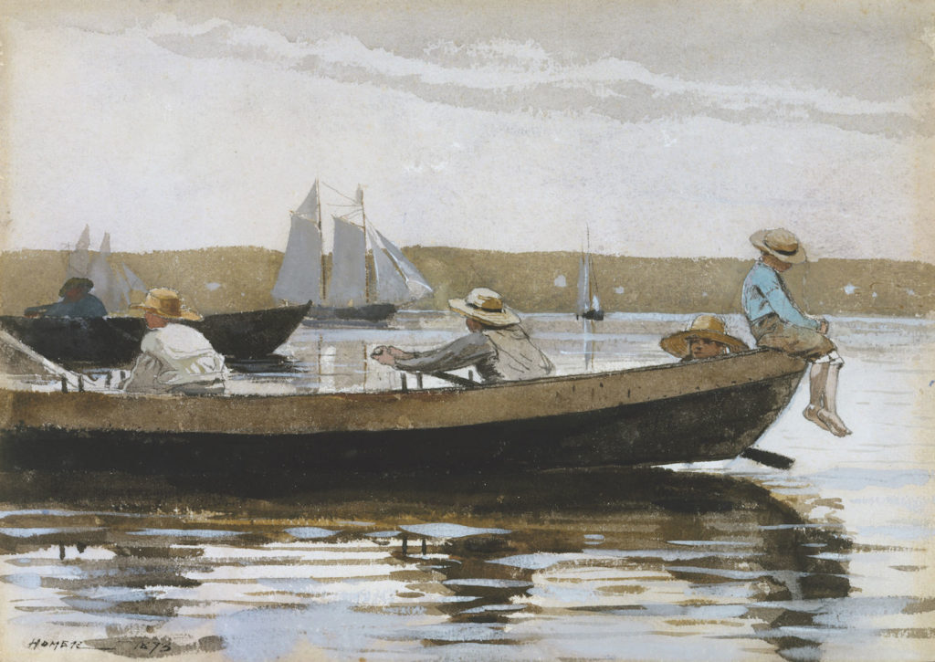 Boys in a Dory by Winslow Homer, watercolor washes and gouache over a graphite underdrawing