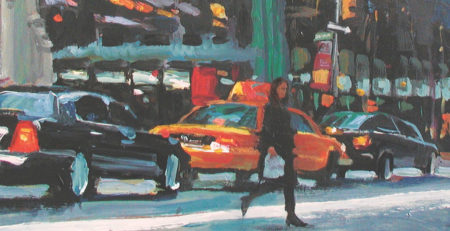 Crossing Madison by Patti Mollica, acrylic on panel, detail | how to choose color schemes