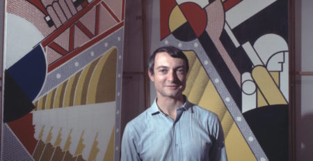 Pop artist Roy Lichtenstein in his New York studio in 1968. (Photo by Jack Mitchell/Getty Images)