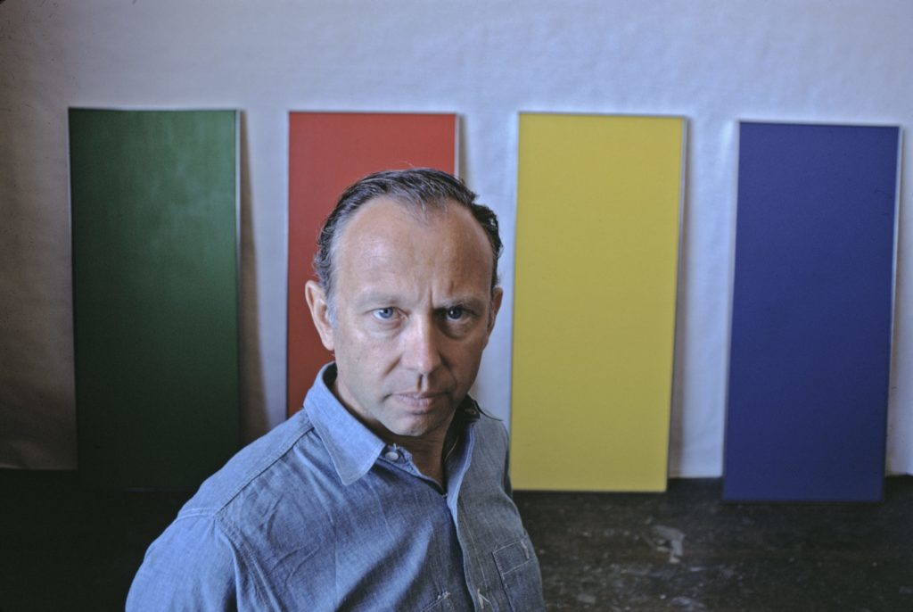 Minimalist painter Ellsworth Kelly photographed in his New York City studio in 1968, two decades after he served in the Ghost Army and had become one of the leading painters of American modernism.
