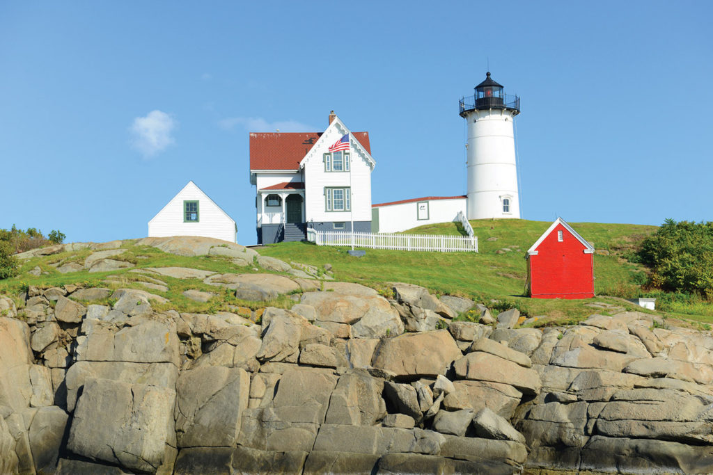 Cape Neddick Lighthouse (Nubble Lighthouse) at Old York Village -- York Harbor, Maine; article by Artists Magazine