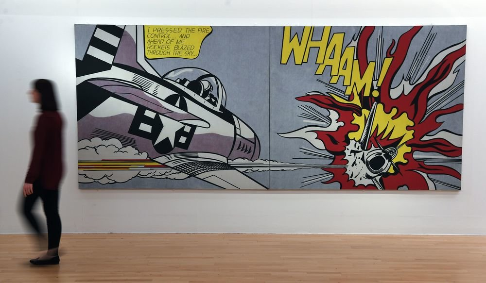 The newly restored artwork Whaam! by American pop artist Roy Lichtenstein at Tate Liverpool. (Photo credit should read PAUL ELLIS/AFP/Getty Images)