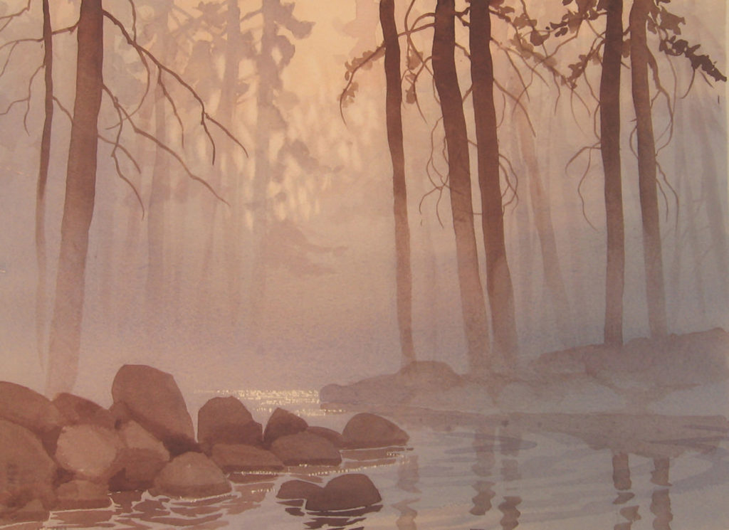 Bend in the Fog by Gordon MacKenzie, watercolor