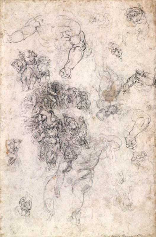 Studies for the Last Judgement (1534), Michelangelo. © The Trustees of the British Museum
