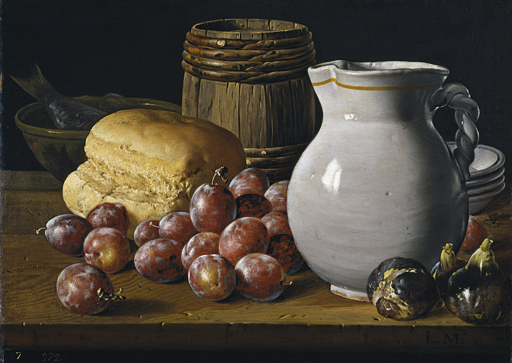 Still Life with Figs and Plums by Luis Egidio Meléndez | Setting up a still life composition