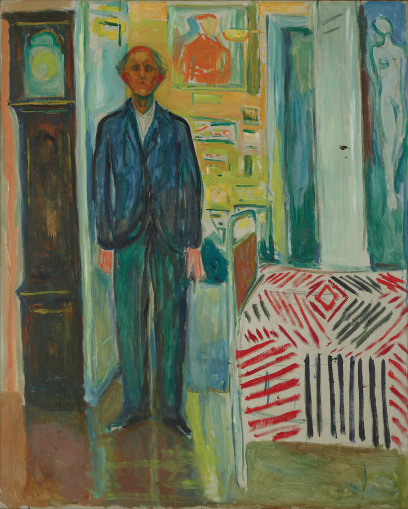 Self-Portrait: Between the Clock and the Bed by Edvard Munch, 1940-43; oil on canvas | Article written by Jerry N Weiss for Artists Magazine