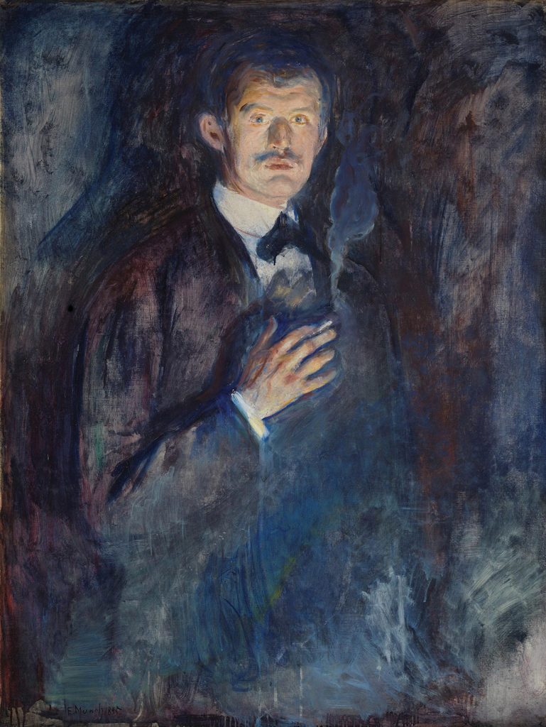 Self-Portrait With Cigarette by Edvard Munch, 1895; oil on canvas | Article written by Jerry N Weiss for Artists Magazine