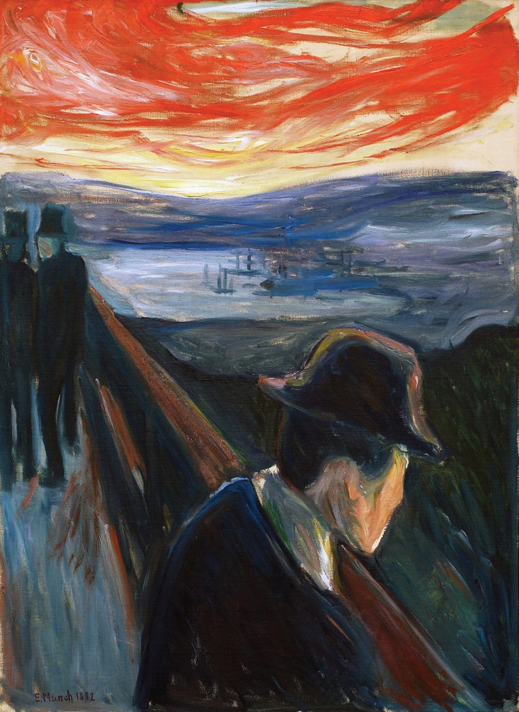 Sick Mood at Sunset: Despair by Edvard Munch, 1892, oil on canvas | Article written by Jerry N Weiss for Artists Magazine