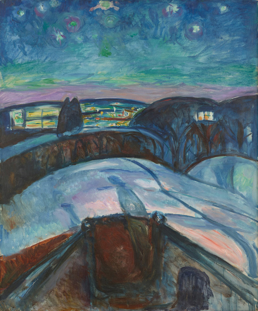 Starry Night by Edvard Munch, 1922-24; oil on canvas| Article written by Jerry N Weiss for Artists Magazine