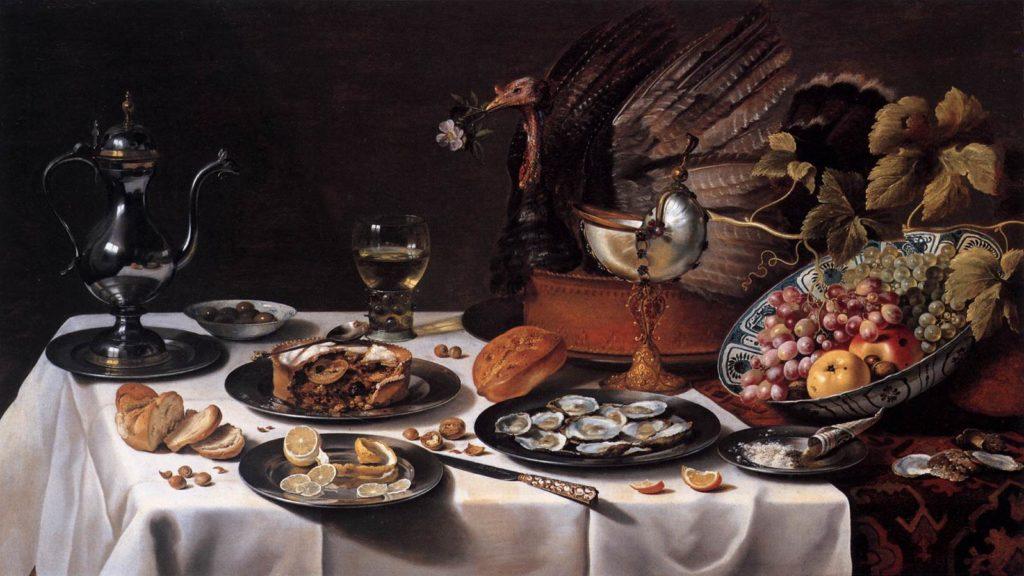 Still Life with Turkey Pie by Pieter Claesz, 1627