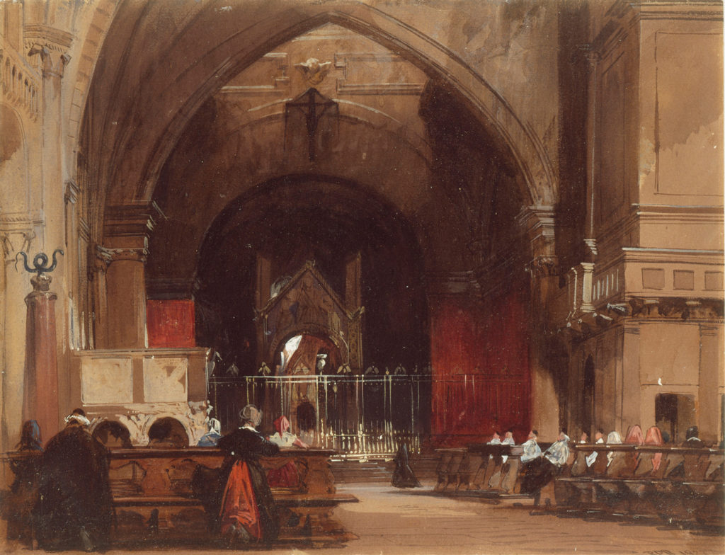 Second Wonder of the Watercolor World: Milan: Interior of Sant' Ambrogio (1827; watercolor and bodycolor with gum and varnish on paper, 8¾ x 11¼) Selected by Dr. Lelia Packer, Acting Curator of Paintings, Watercolours, Miniatures and Manuscripts, The Wallace Collection, London.