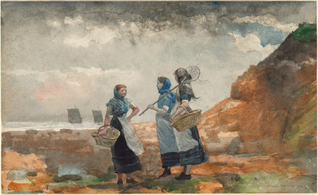 Three Fisher Girls, Tynemouth by Winslow Homer, watercolor on paper 1881
