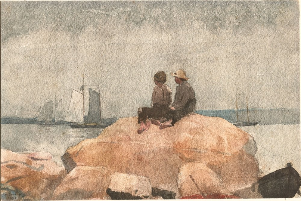 Two Boys Watching Schooners by Winslow Homer, 1880