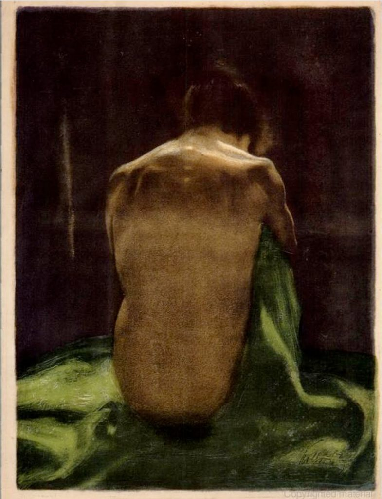 Female Nude with Green Shawl Seen from Behind by Käthe Kollwitz, lithograph drawing